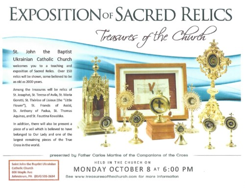Exposition of Sacred Relics | October 8 at 6pm
